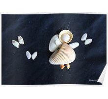 Beach Angel ~ Shells on Sandy Canvas  Poster