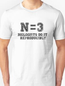 N=3. Biologists Do it Reproducibly (black text) T-Shirt