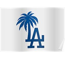 Los Angeles Dodgers Tropical Logo Poster