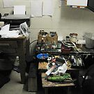 My work pit...(aka studio) left of easel by Warren Haney