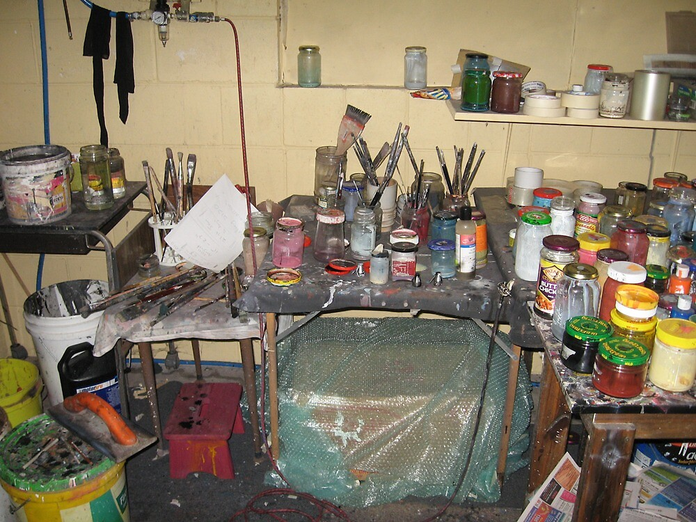 My work pit...(aka studio) right of easel by Warren Haney