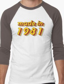 Made in 1981 (Yellow&Red) Men's Baseball ¾ T-Shirt