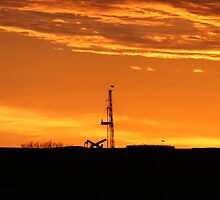 Workover Rig At Sunset by OilfieldGifts