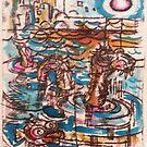 Sea Monster - Hand Painted Monoprint by Matt Bissett-Johnson