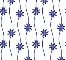 Blue & White Daisy Chain Floral Pattern by HavenDesign