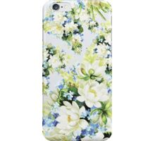 Vintage elegant white blue floral pattern iPhone Case/Skin