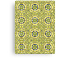 Blue, Green & Yellow Kaleidoscope Flowers Canvas Print