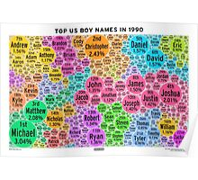 Top US Boy Names in 1990 - White Poster