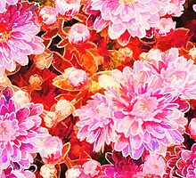 Vintage painting pink white flowers pattern  by Maria Fernandes
