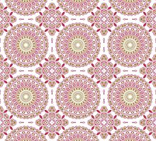 Rose Pink & Olive Green Kaleidoscope Flowers by Mercury McCutcheon