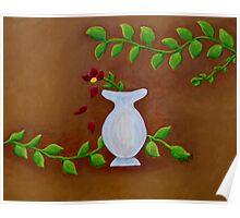 White Vase Red Flower Poster