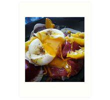 Poached egg on bresaola and orange supremes Art Print