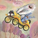 Cute Monster Vintage Race Car by colonelle