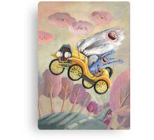 Cute Monster Vintage Race Car Canvas Print