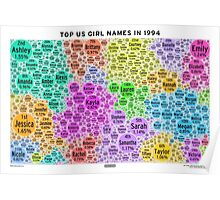 Top US Girl Names in 1994 - White Poster