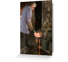Pouring the Molten Bronze Greeting Card