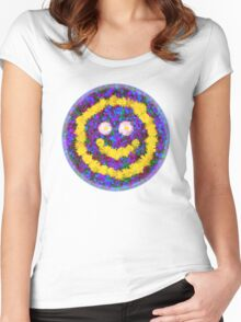 Happy Smiley Face Bright Dandelion Flowers  Women's Fitted Scoop T-Shirt