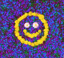 Happy Smiley Face Bright Dandelion Flowers  by Katho Menden