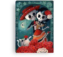 Dia de Los Muertos Couple of Skeleton Lovers Canvas Print
