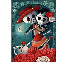 Dia de Los Muertos Couple of Skeleton Lovers Photographic Print