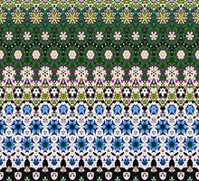 Abstract ethnic floral stripe pattern white blue green by Katho Menden