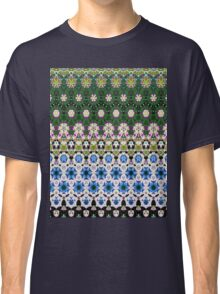 Abstract ethnic floral stripe pattern white blue green Classic T-Shirt