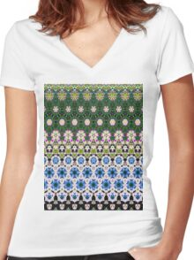 Abstract ethnic floral stripe pattern white blue green Women's Fitted V-Neck T-Shirt