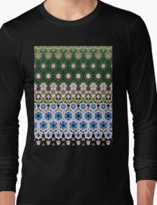 Abstract ethnic floral stripe pattern white blue green Long Sleeve T-Shirt