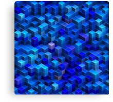 Blue stacked 3D cubes abstract geometric pattern Canvas Print