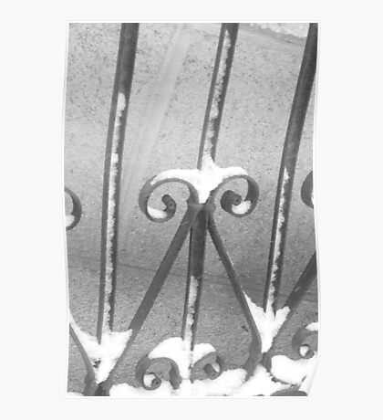 snow on the railings Poster