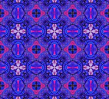 Blue pink purpel checked flowery plaid pattern by Katho Menden