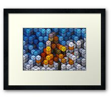 Yellow and blue geometric cubes pattern Framed Print