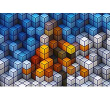 Yellow and blue geometric cubes pattern Photographic Print