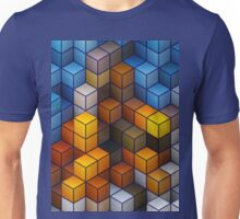Yellow and blue geometric cubes pattern Unisex T-Shirt