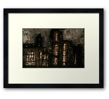 Charcoal, ink, acrylic and shellac ominous buildings painting! Framed Print