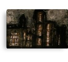 Charcoal, ink, acrylic and shellac ominous buildings painting! Canvas Print