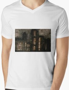 Charcoal, ink, acrylic and shellac ominous buildings painting! Mens V-Neck T-Shirt