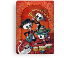 Dia de Los Muertos Skeleton Musicans Canvas Print
