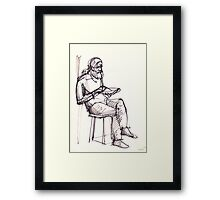 Sitting Man with a plate Framed Print