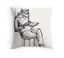 Sitting Man with a plate Throw Pillow