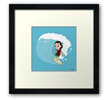 Surfing girl cartoon Framed Print
