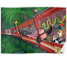Animal Jungle Train Poster