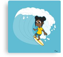 Surfing girl cartoon Canvas Print