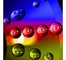Droplets - 6 (Blue, Red and Yellow) by MoGeoPhoto