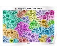 Top US Girl Names in 2002 - White Poster