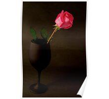 Pink Rose on a black back ground Poster