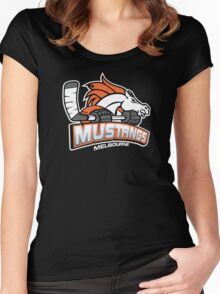 Melbourne Mustangs Classic White Logo Women's Fitted Scoop T-Shirt