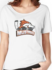 Melbourne Mustangs Classic White Logo Women's Relaxed Fit T-Shirt