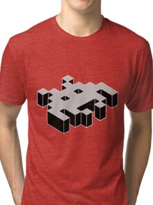 space invader 3d black and white Tri-blend T-Shirt