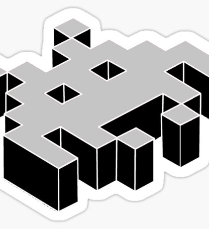 space invader 3d black and white Sticker